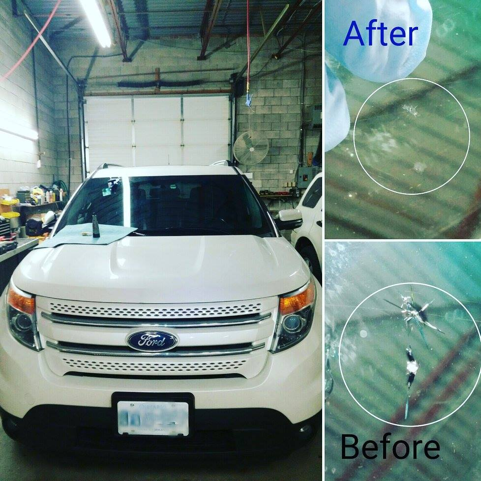auto-glass windshield repair Markham-before after