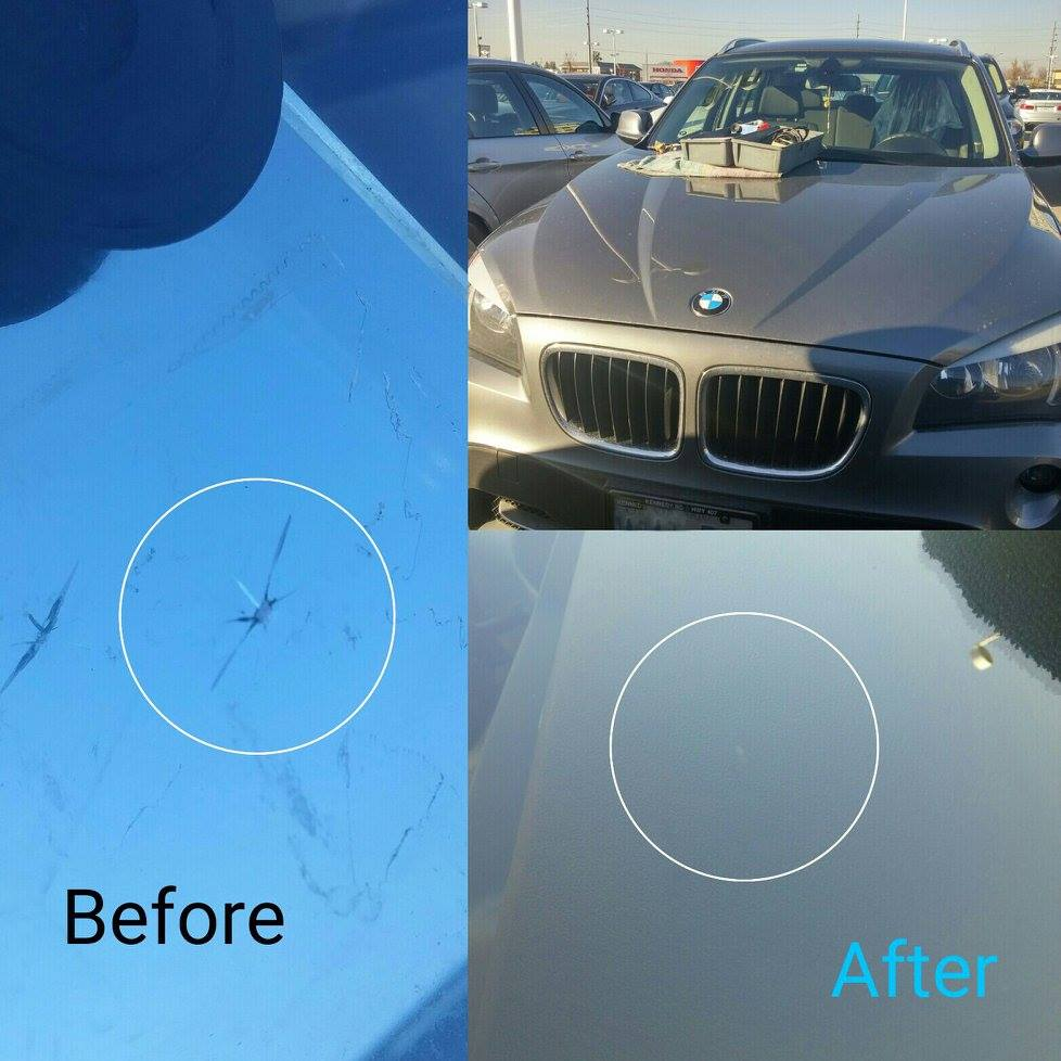 windshield stone chip repair Markham before after